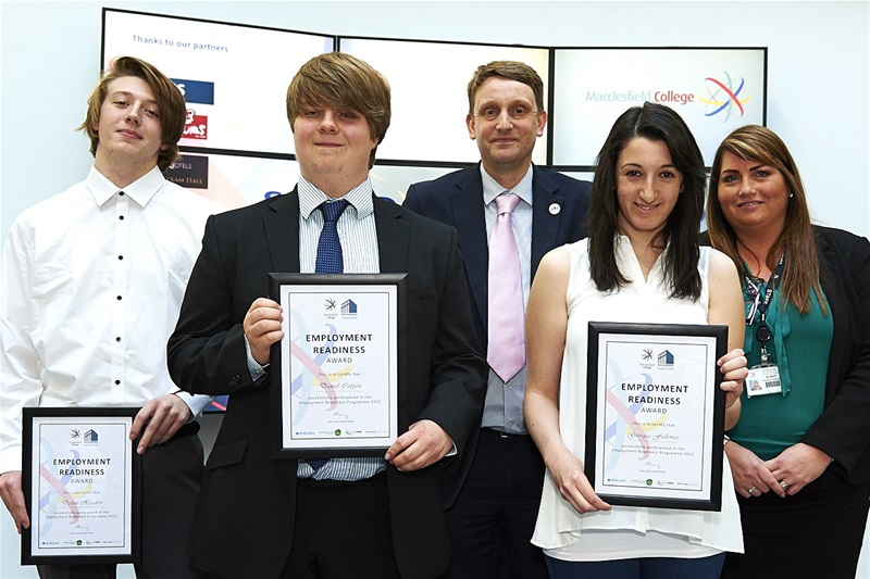 Some participants from the Employment Readiness Programme (From L to R) Dylan Headen, Daniel Coppen,Trevor Langston, Chamber of Commerce, Giorgia Federico and Chantelle Dewberry, the College's Head of 14-19 Vocational Curriculum.