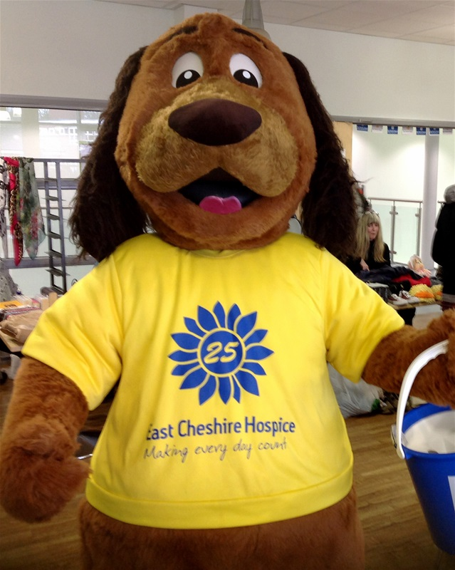 Sunny the East Cheshire Hospice mascot lends a paw at the Open Day