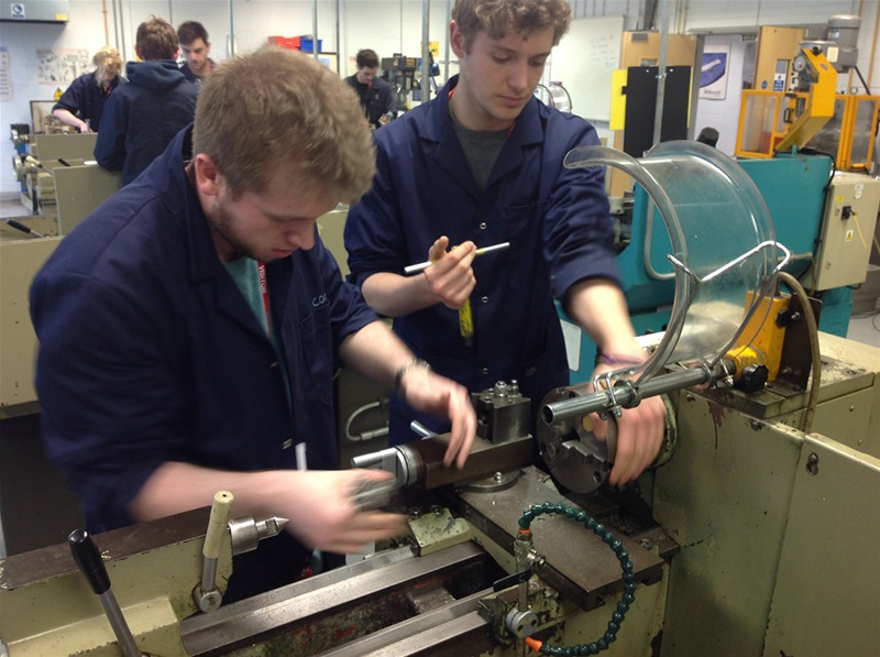 Engineering students in the workshop.