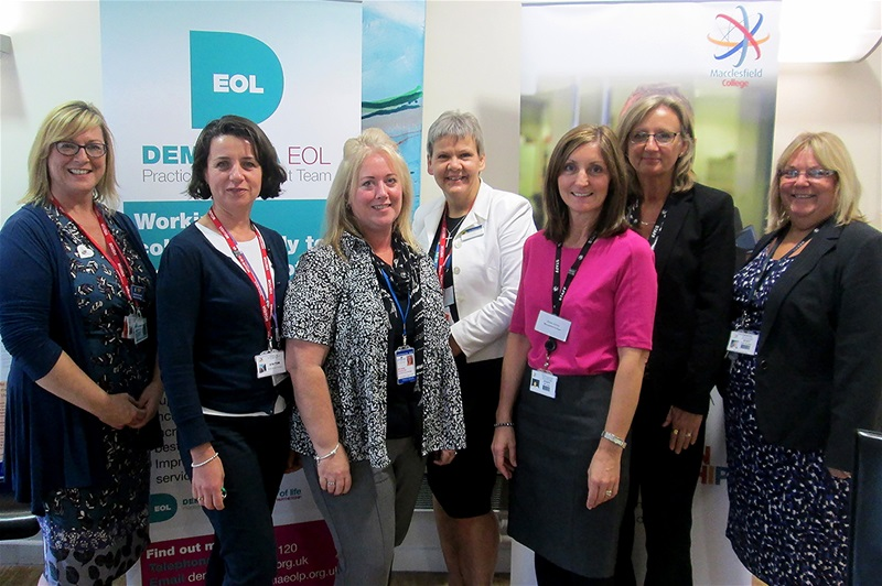 From left to right: Deborah Hutchinson - Admiral Nurse from Dementia EOL Practice Development Team, Sian Harrison - Team Leader from Dementia EOL Practice Development Team,  Michelle Corcoran - Carers Trust 4all, Helen Knight - Clinical Director at East Cheshire Hospice, Jane Jones - Work Based Learning Coordinator at Macclesfield College, Elaine Latham - Business Development Administrator at Macclesfield College, and Dawn Ridehalgh - Head of Trade Services and Apprenticeships at Macclesfield College.
