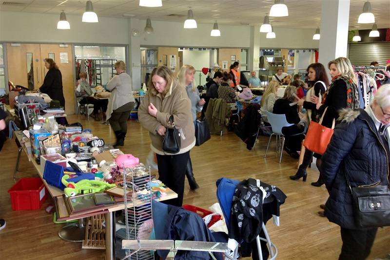 Browsing the stalls at the indoor car boot sale