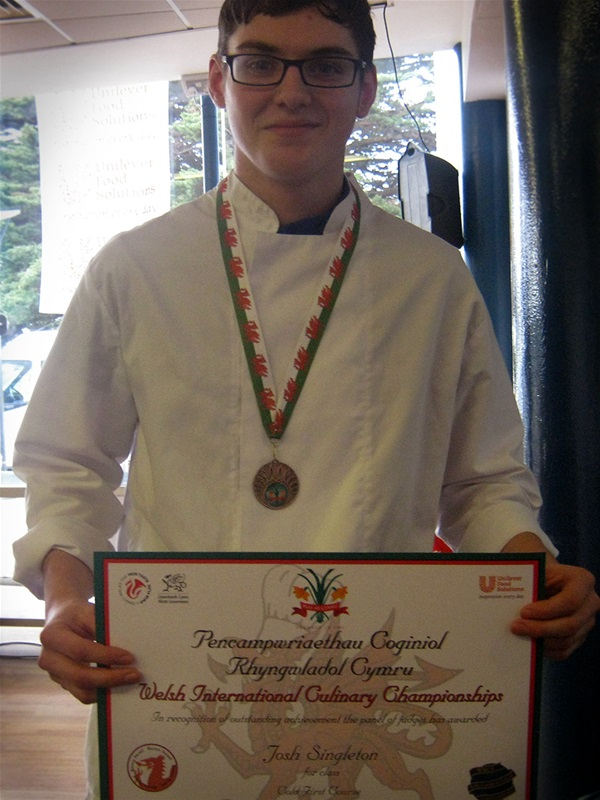 Joshua Singleton when he was a student picking up an award in the Welsh National Culinary Championships.