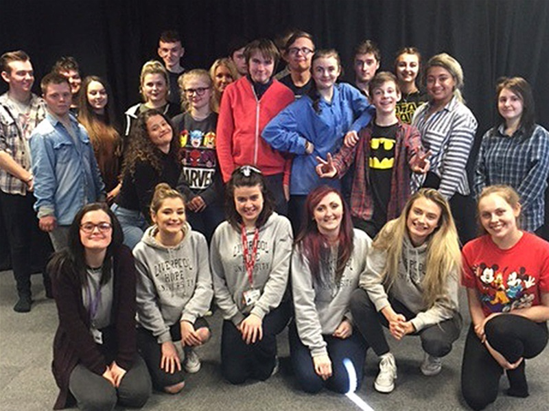 Performing Arts students with the graduates from Liverpool Hope University.