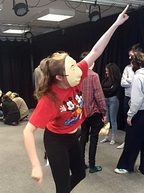 Hannah Turton, in the mask, has been accepted onto a degree course in acting at Liverpool Hope University.