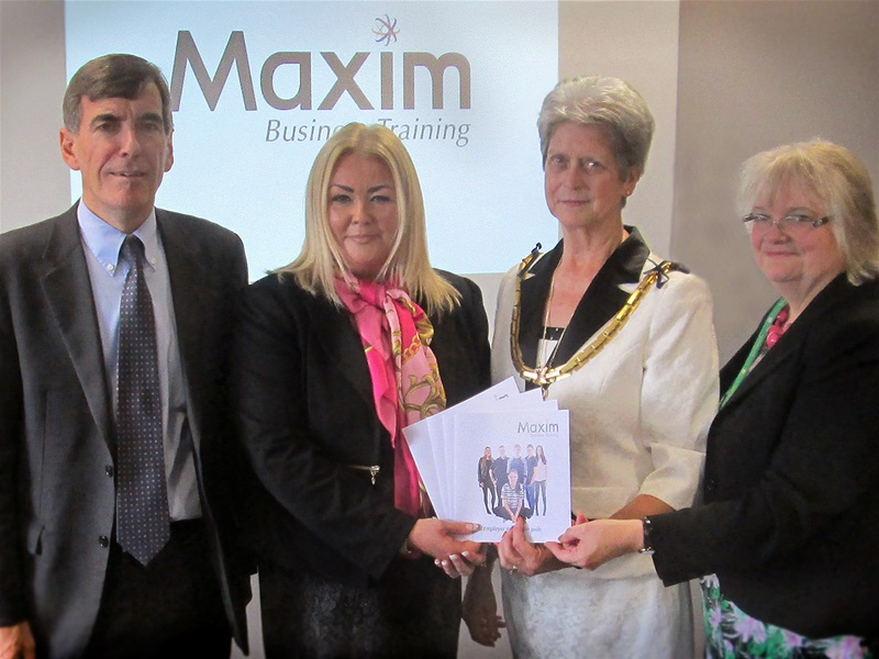 At the launch of the Maxim Business Training brand, from left to right: David Rutley MP, Macclesfield College Principal Rachel Kay, the Mayor of Macclesfield Cllr Liz Durham and Anne Thomson Chair of the College Corporation.