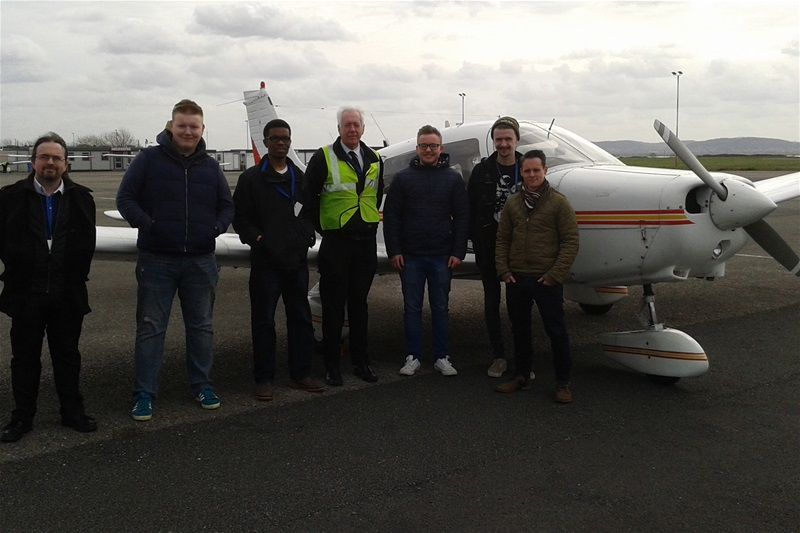 Tutor, Steve Allison, is pictured below with the students, the aircraft and their instructor.
