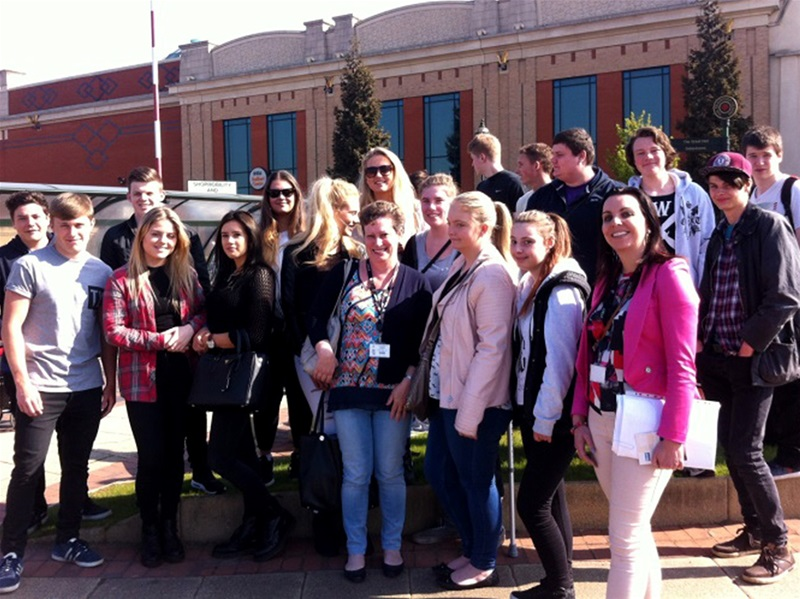 The Business students outside the Trafford Centre