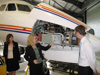 Terry Marsh, Director of WISE inspects ECAT's Aircraft, along with Kay Lees and Andrew Young