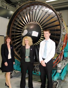 Terry Marsh, Director of WISE (centre) in front of ECAT's Aircraft Engine, along with Kay Lees and Andrew Young