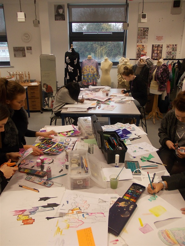 Fashion students in the studio.