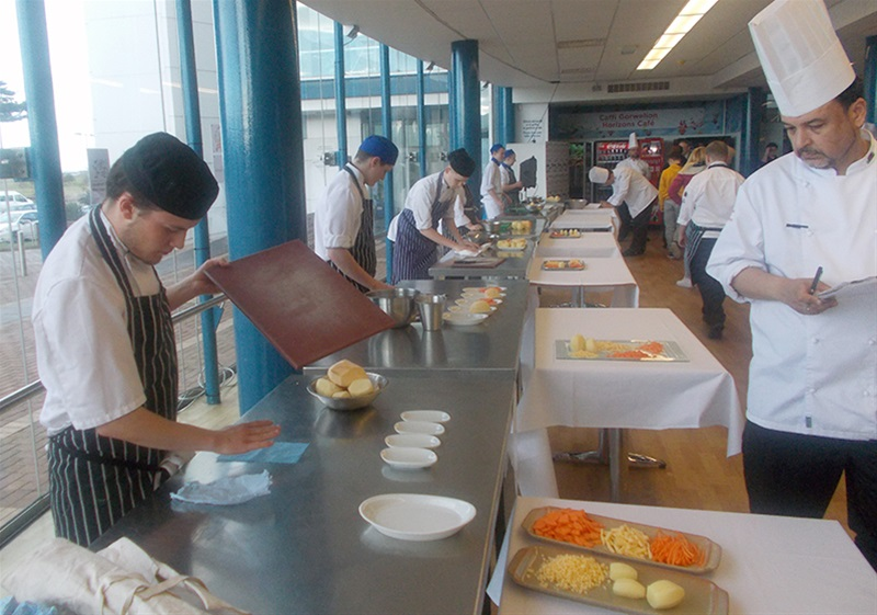 Macclesfield College competing in the 'Knife Skills - Vegetables' event.